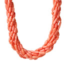 8 Strands Orange Pink Color Barrel Shape Coral Necklaces with Moonlight Clasp under $ 40