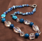Light Blue Series Assorted Multi Shape Blue Agate and Clear Crystal Necklace
