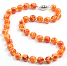 Multi Color Hand-Painted Round Agate Beaded Necklace (Random Color)