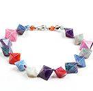 Classic Design Multi Color Solid Cutting Fire Agate Chunky Necklace
