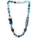 Dark Blue Series Assorted Multi Shape Blue Agate and Black Pearl Necklace