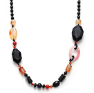 Black Series Assorted Multi Shape Black Agate and Carnelian Necklace