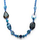 Dark Blue Series Assorted Multi Shape Blue Agate Necklace