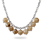 Simple Design 18mm Round Coffee Color Acrylic Beads Necklace with Black Metal Chain