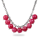 Simple Design 18mm Round Hot Pink Acrylic Beads Necklace with Black Metal Chain