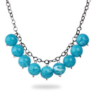 Simple Design 18mm Round Blue Turquoise Color Acrylic Beads Necklace with Black Metal Chain