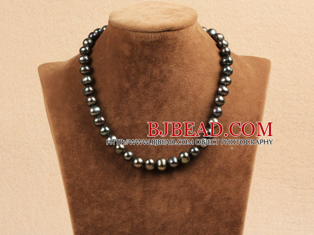 Best Mother Gift Graceful 10-11mm Natural Black Pearl Party Necklace