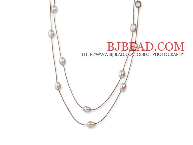 Long Style 11-12mm Violet Freshwater Pearl Necklace with Brown Leather