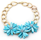 2013 Summer New Design Sky Blue Shell Flower Necklace with Golden Color Metal Chain
