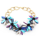 2013 Summer New Design Multi Color Shell Flower and Black Crystal Necklace with Golden Color Metal Chain under $ 40