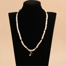 Trendy Simple Natural White Freshwater Pearl Stretch Necklace (Also can Be Bracelet)