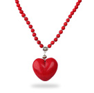 Classic Design Round Dyed Red Turquoise Necklace with Heart Shape Pendant under $ 40