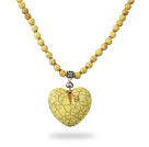 Classic Design Round Dyed Yellow Turquoise Necklace with Heart Shape Pendant under $ 40
