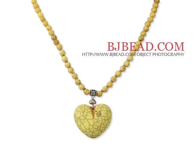 Classic Design Round Dyed Yellow Turquoise Necklace With