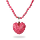 Classic Design Round Dyed Pink Turquoise Necklace with Heart Shape Pendant