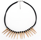 Punk Style Black Seashell Necklace with Furador Shape Metal Accessory
