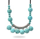 New Design Burst Pattern Turquoise Necklace with Tibet Silver Tube Accessory