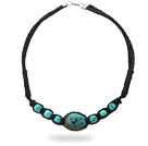 Simple Design Green Turquoise Leather Necklace with Black Leather