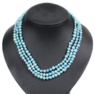 Fashion Style 3 Strand Natural Light Blue s...
