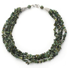 Multi Strands Green Tourmaline Chips Necklace