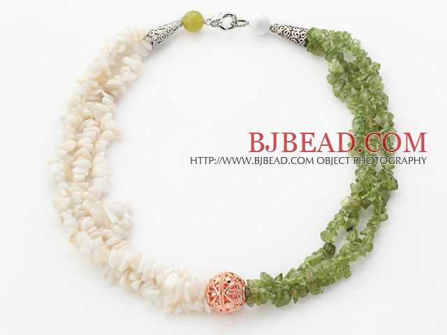 White and Olive Green Series Multi Strands White Shell and Olive Chips Necklace