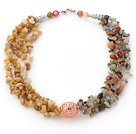 Multi Strands Yellow Jade and Multi Color Rutilated Quartz Chips Necklace under $ 40