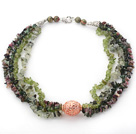 Green Series Multi Strands Tourmaline and Olive and Prehnite Chips Necklace
