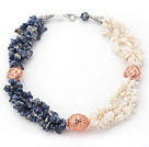White and Blue Series Multi Strands White Shell and Sodalite Chips Necklace