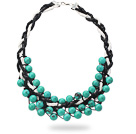 2013 Summer New Design Round Green Turquoise Woven Leather Necklace with Black and White Leather