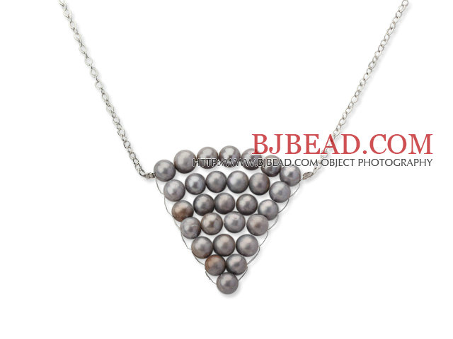 Fashion Style Silver Gray Color Freshwater Pearl Wrapped Pendant Necklace with Metal Chain