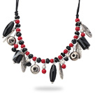 Assorted Black Agate and Red Coral Charm Necklace with Black Thread