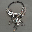 Popular Statement Style Natural Black Freshwater Pearl Crystal Black Lip Shell Flower Party Necklace under $ 100