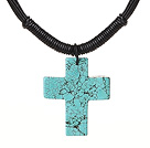 Simple Design Cross Shape Green Turquoise Pendant Leather Necklace with Black Leather