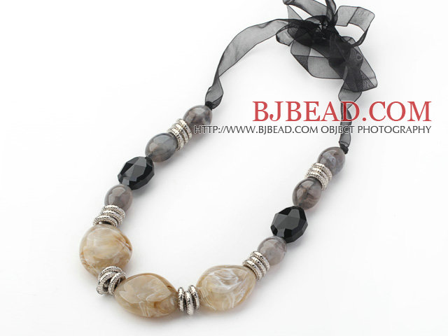 Gray Series Gray Acrylic and Black Color Crystal Necklace with Black Ribbon