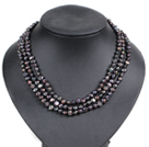 Fashion Style 3 Strand Natural Black Freshwater Pearl Necklace