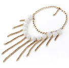 New Design Round Acrylic Tassel Choker Necklace with Yellow Color Metal Chain