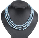 Fashion Style 3 Strand Natural Sky Blue Freshwater Pearl Necklace