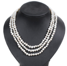 Fashion Style 3 Strand Natural White Freshwater Pearl Necklace