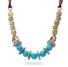 Blue and Light Yellow Acrylic Necklace with Reddish Brown Ribbon