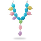 Assorted Multi Color Acrylic Y Shape Necklace with Silver Color Metal Chain