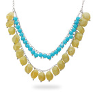 Fashion Style Two Layer Blue and Lemon Color Acrylic Necklace with Metal Chain