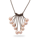 Fan Shape 10-11mm Pink Freshwater Pearl Leather Necklace with Light Brown Leather