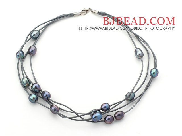 Multi Strands 10-11mm Black Freshwater Pearl Leather Necklace with Gray Leather