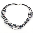 Multi Strands 10-11mm Black Freshwater Pearl Leather Necklace with Black Leather