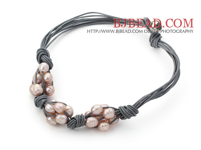 Multi Strands 10-11mm Natural Violet Freshwater Pearl Woven Leather Necklace with Gray Leather