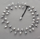 2013 Summer New Design Gray and White Freshwater Pearl and Clear Crystal Necklace under $ 40