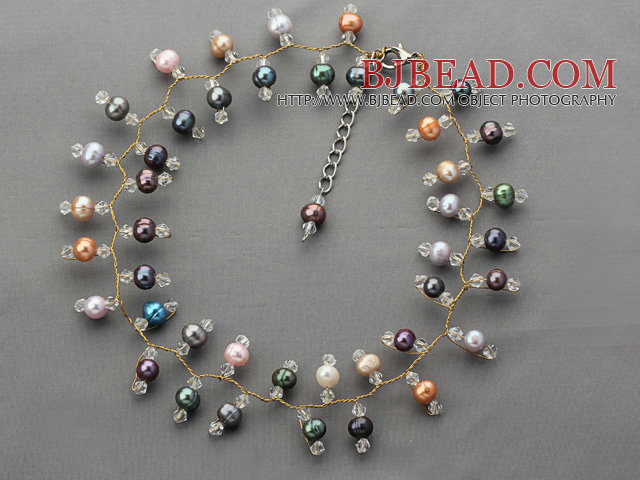 2013 Summer New Design Black and Multi Color Freshwater Pearl and Clear Crystal Necklace