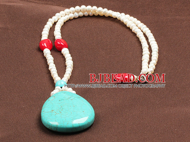 Fashion Nautral White Freshwater Pearl Red Coral Water Drop Shape Turquoise Pendant Necklace