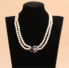 Best Mother Gift Graceful Double Strand Natural White Pearl Party Necklace With Rhinestone Bowknot Clasp