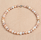 Best Mother Gift Graceful 10-11mm Natural Smooth White & Pink Pearl Party Necklace
